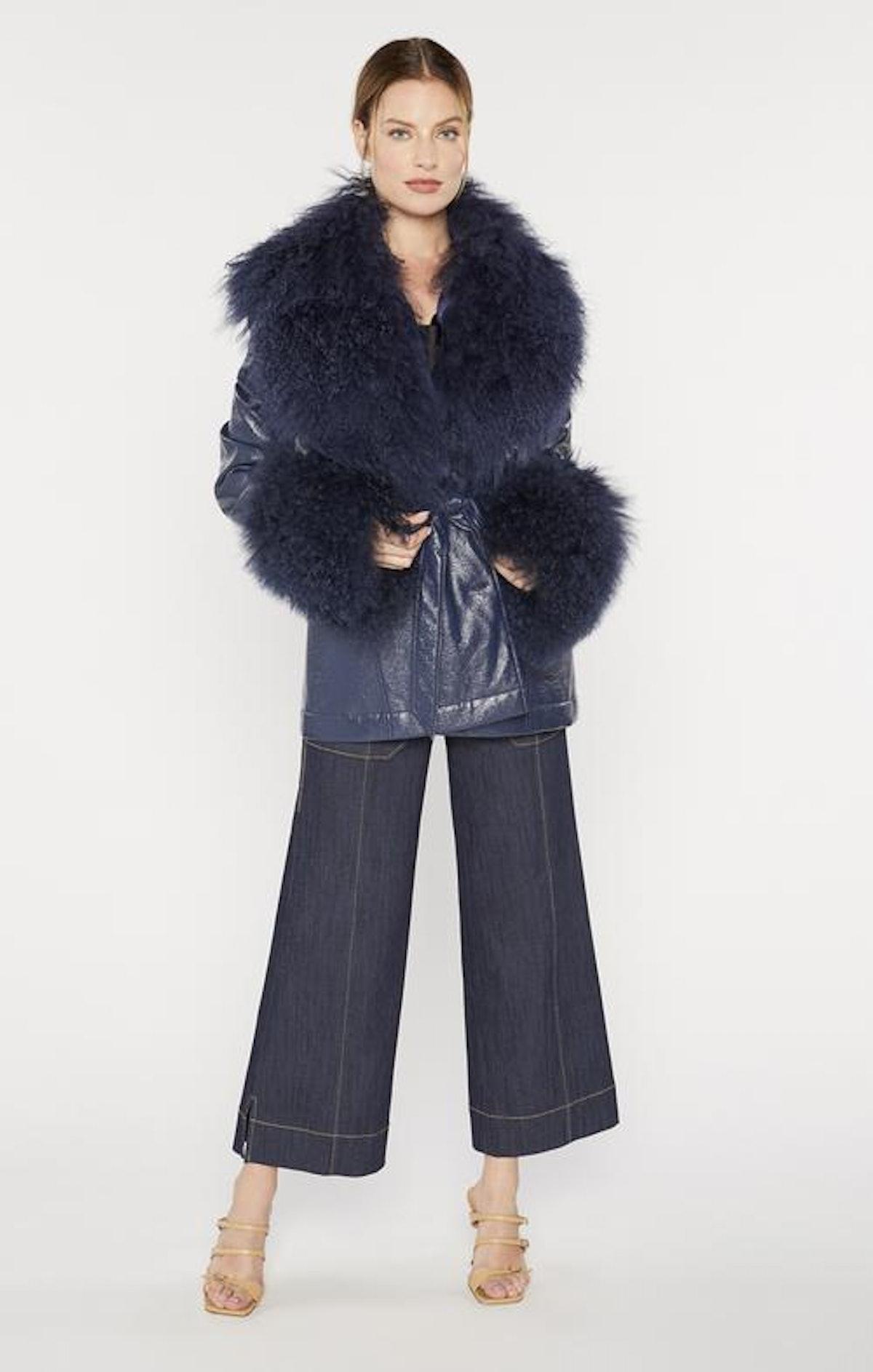 Cinq à Sept Blair Coat Fur Trimmed