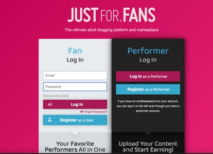 Sign up as a performer on JustForFans.