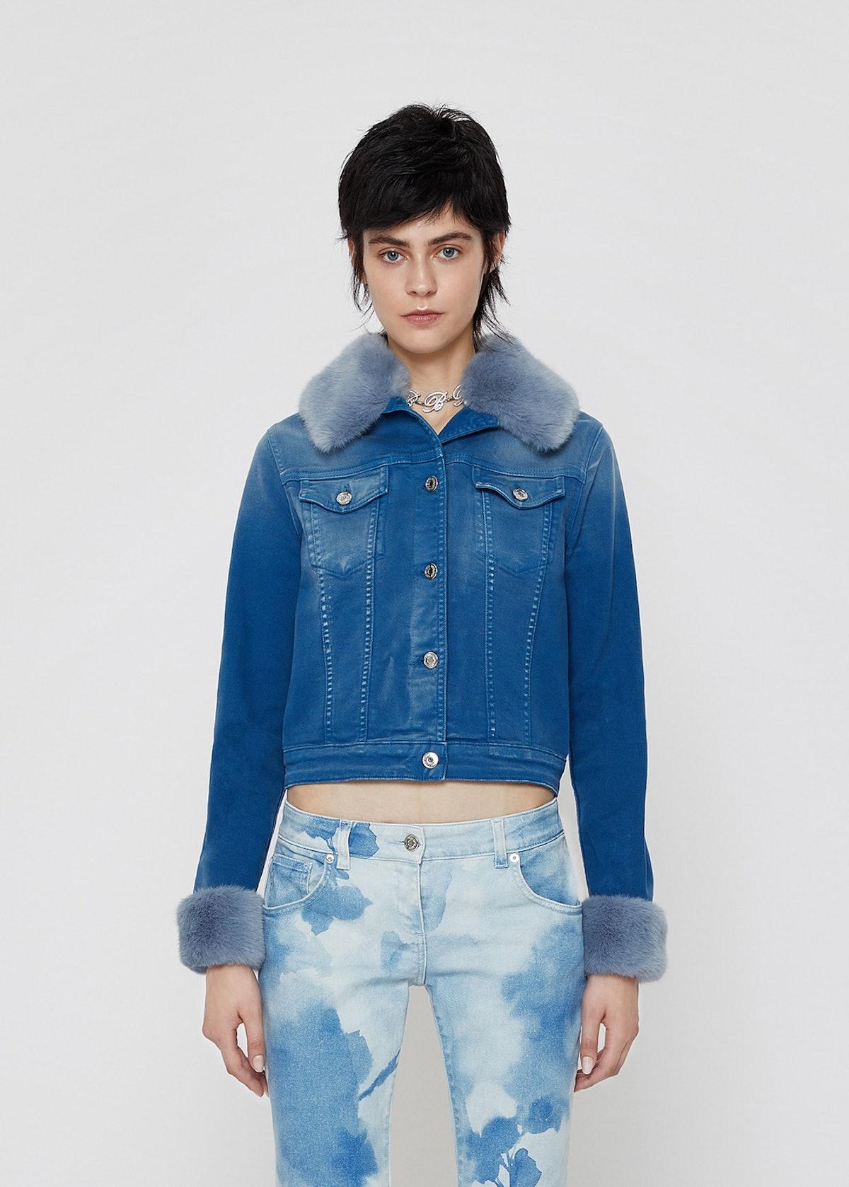 Blumarine Jean Jacket With Eco- Fur Fur Trimmed
