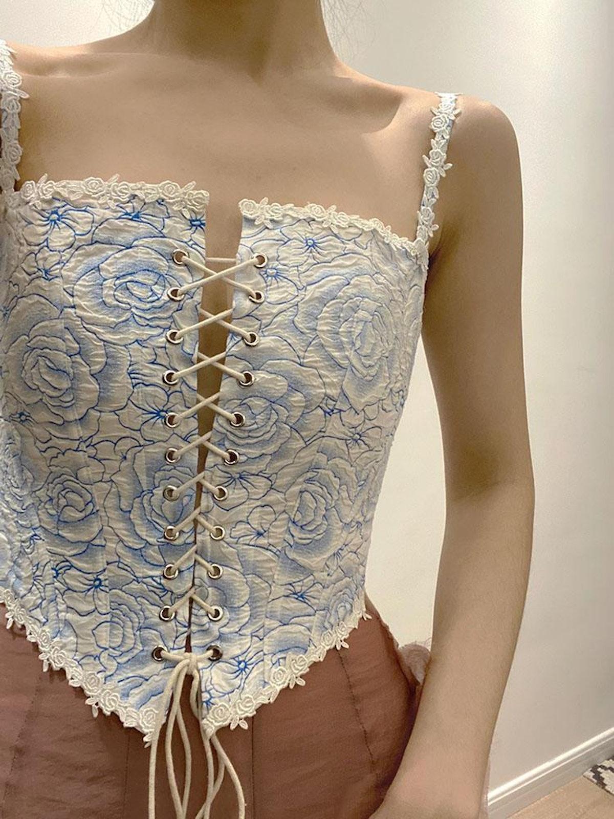 Vintage Blue Rose Print Lace Up Corset