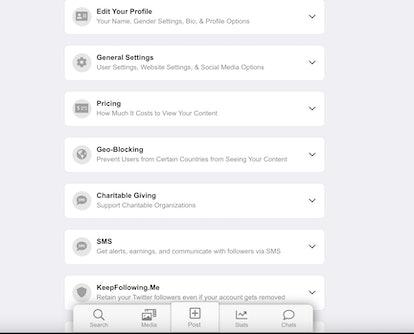 Screenshot of JustForFans general settings for performers.