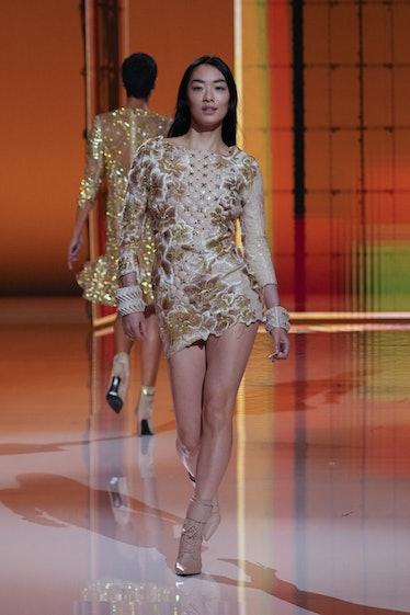 Rina Sawayama walking the spring 2022 Balmain show