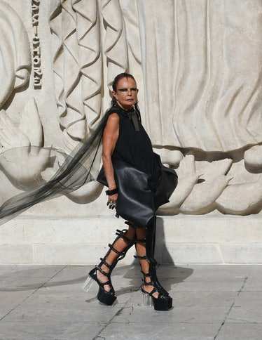 Michèle Lamy walking the spring 2022 Rick Owens show