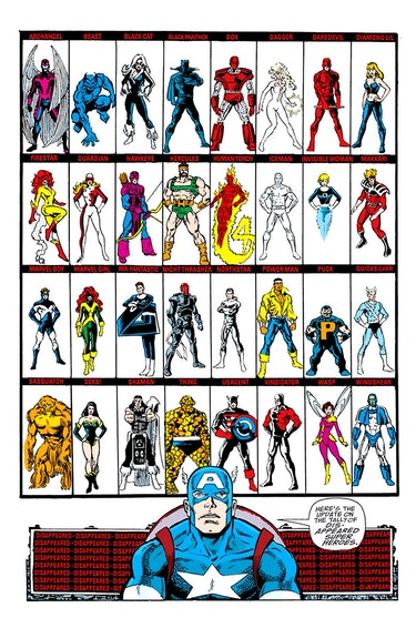 The missing heroes in The Infinity Gauntlet #2. Artwork by George Perez.