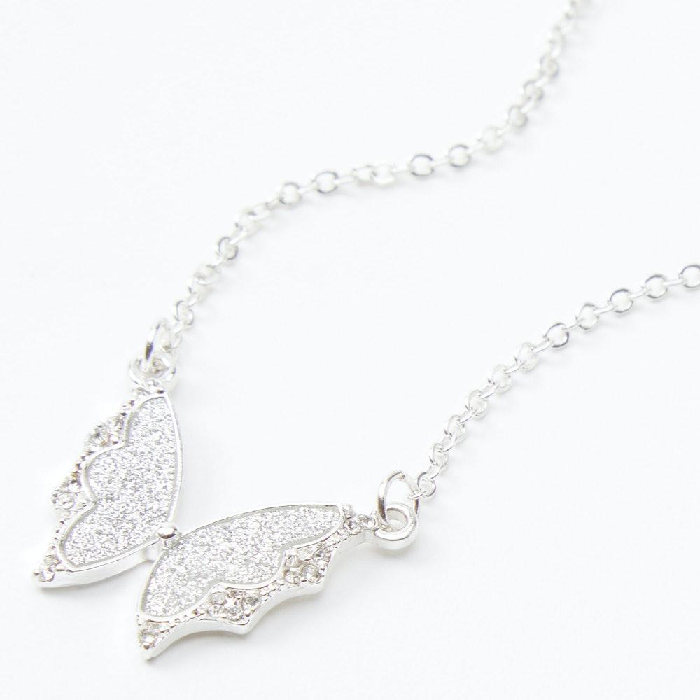Silver Glitter Butterfly Pendant Necklace