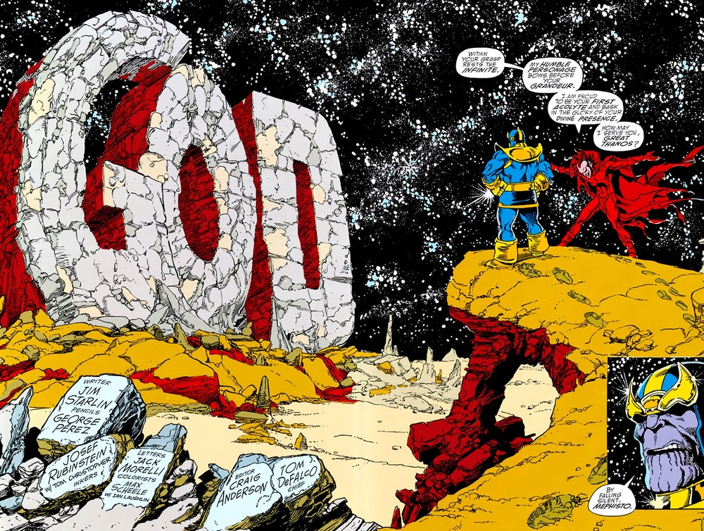 The opening image of The Infinity Gauntlet #1. Artwork by George Perez.