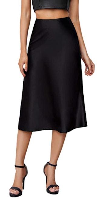 Verdusa High Waist Satin A Line Midi Skirt
