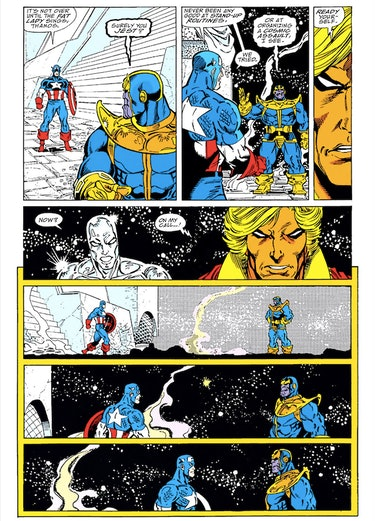 Captain America's standoff with Thanos in issue #4. Artwork by Ron Lim.