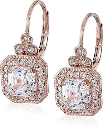 Amazon Collection Sterling Silver Asscher-Cut Drop Earrings