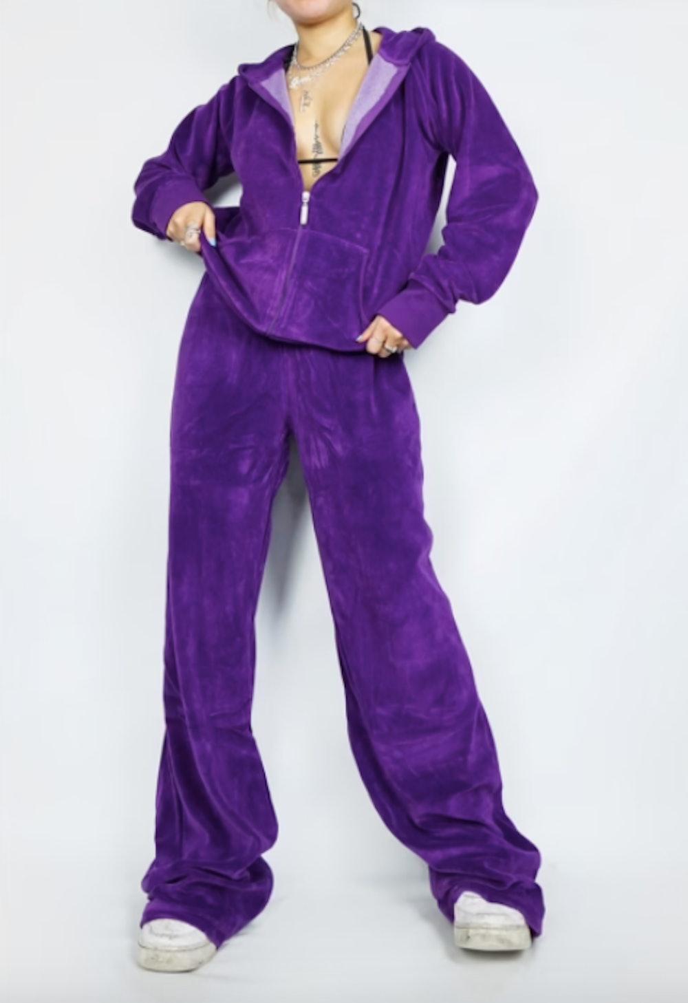 Vintage Y2k Purple Velour Tracksuit Set