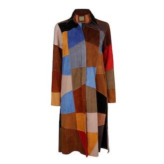 Suede Leather Multicolour Patchwork Coat & Dress