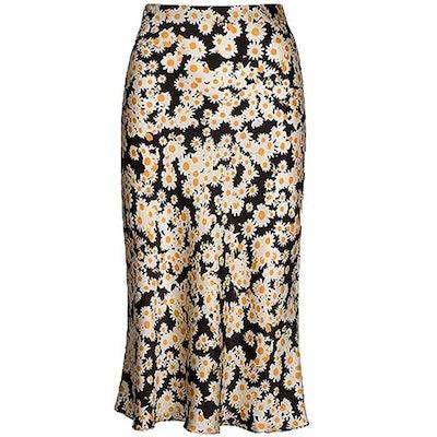 Keasmto High Waist Satin Midi Skirt