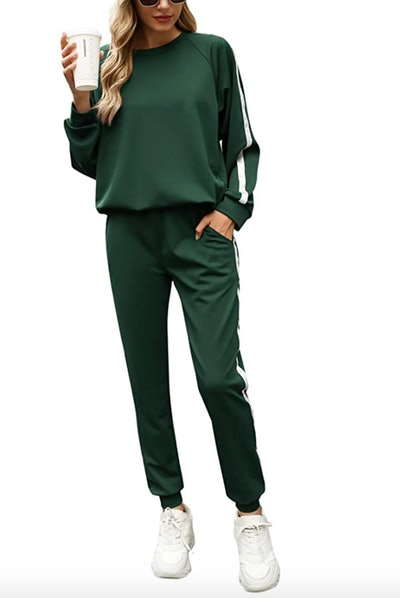 Irevial Womens Long Sleeve 2 Piece Tracksuit