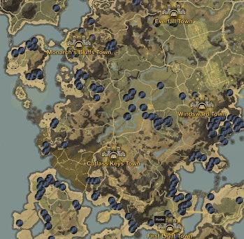 New World Peppercorn Map Monarch's Bluff Cutlass Keys