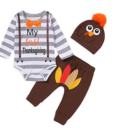 My First Thanksgiving Bodysuit Newborn Turkey Outfit with Hat