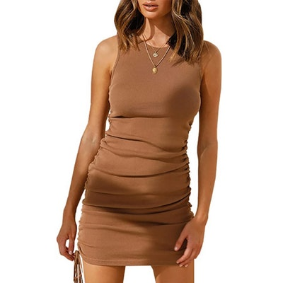 BTFBM Sleeveless Ruched Bodycon Dress
