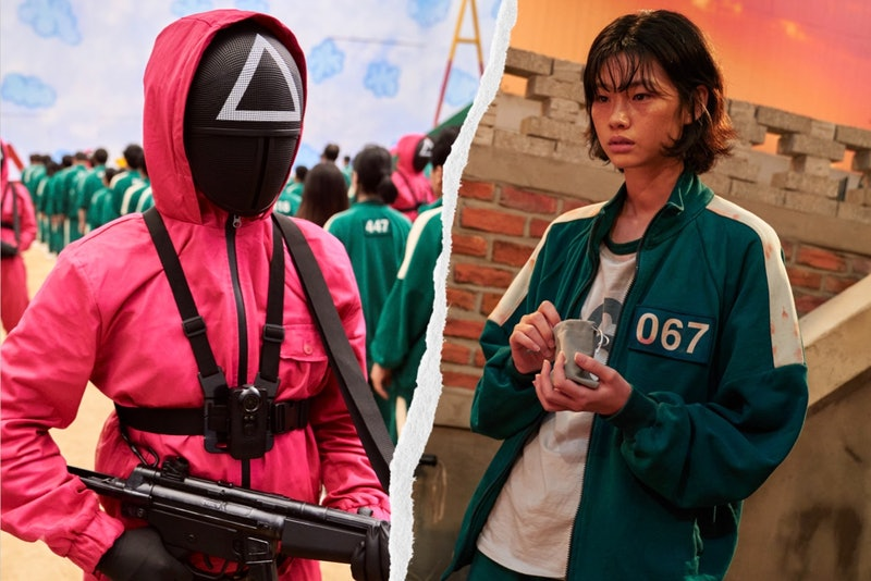 A guard and a contestant from Squid Game on Netflix as Halloween costumes.