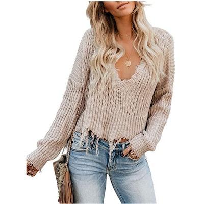 Astylish V Neck Crop Sweater