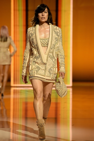 Milla Jovovich walking the spring 2022 Balmain show