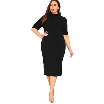 Floerns Plus Size Solid Bodycon Dress