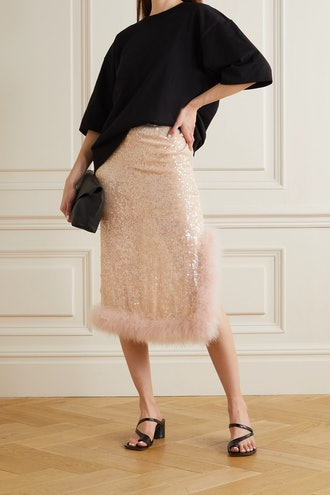 Spany Feather-Trimmed Sequined Tulle Midi Skirt