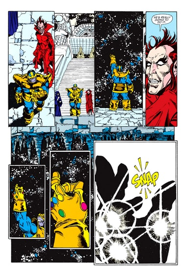 """""""The Snap"""" from The Infinity Gauntlet #1. Artwork by George Perez."""