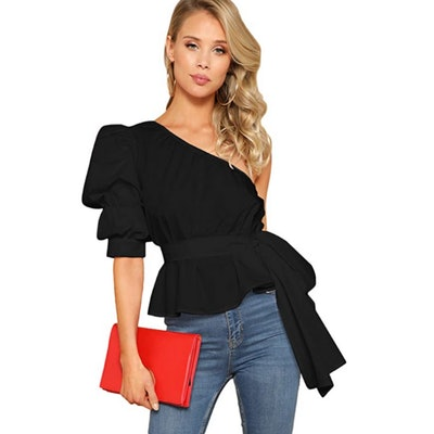 Romwe One Shoulder Belted Blouse