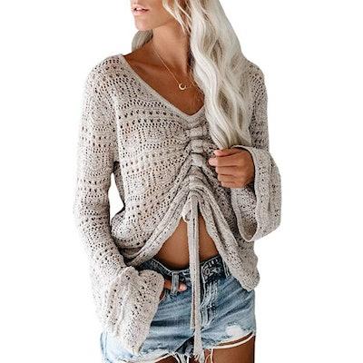 Saodimallsu Bell Sleeve Crochet Sweater