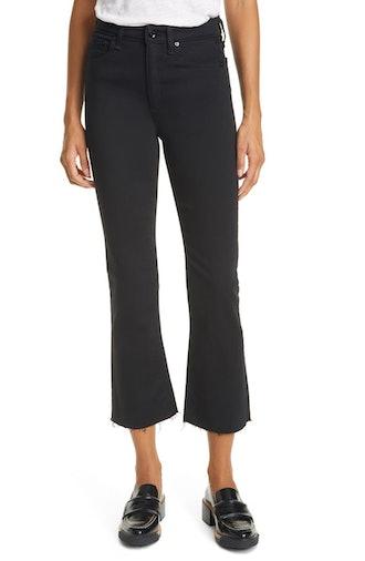 Nina High Waist Raw Hem Ankle Flare Jeans