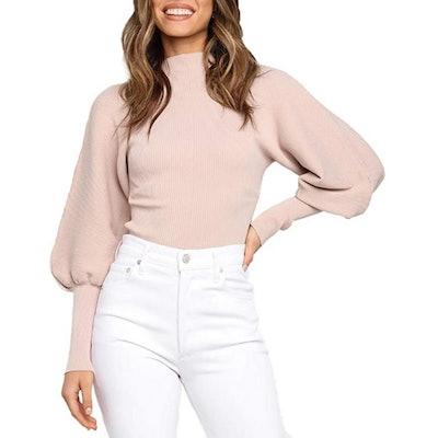 HZSONNE Mock Neck Puff Sleeve Pullover Sweater