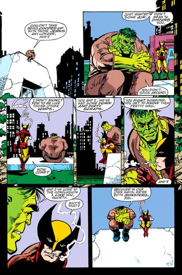 The Hulk and Wolverine discuss being monsters in The Infinity Gauntlet #3. Artwork by George Perez.
