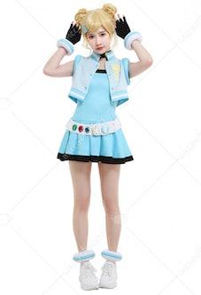 Girls Z PPGZ Rolling Bubbles Miyako Gotokuji Cosplay Costume Sleeveless Vest Coat Short Pleated Dres...