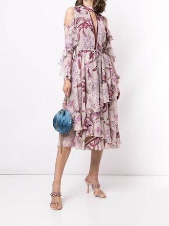 Cold Shoulder Ruffle Tea Length Dress