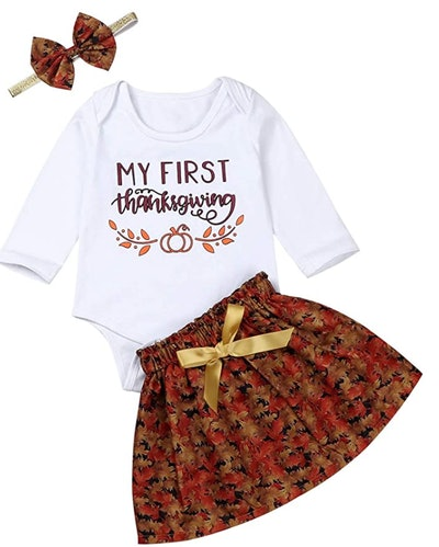 My First Thanksgiving Newborn Baby Girl Thanksgiving Outfit