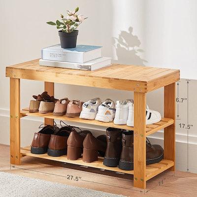 Pipishell Bamboo Shoe Rack Bench