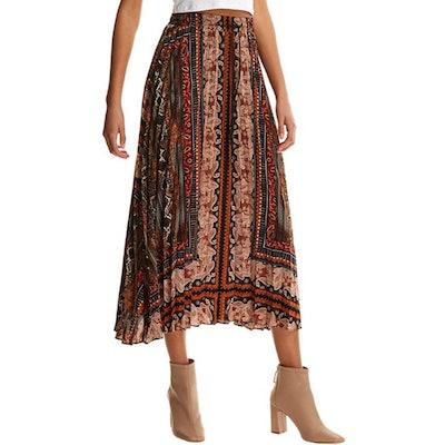 Floerns Elastic Waist Pleated Midi Skirt