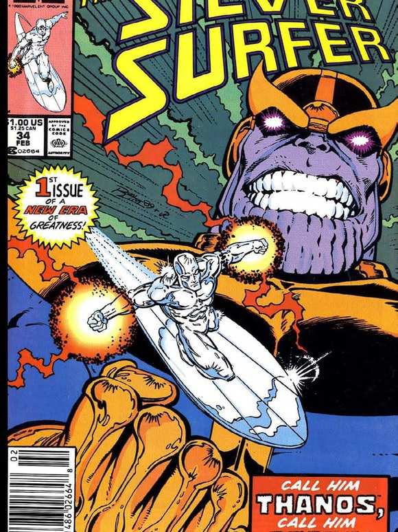The Silver Surfer #34, which marked Starlin's return to Marvel. Artwork by Ron Lim.