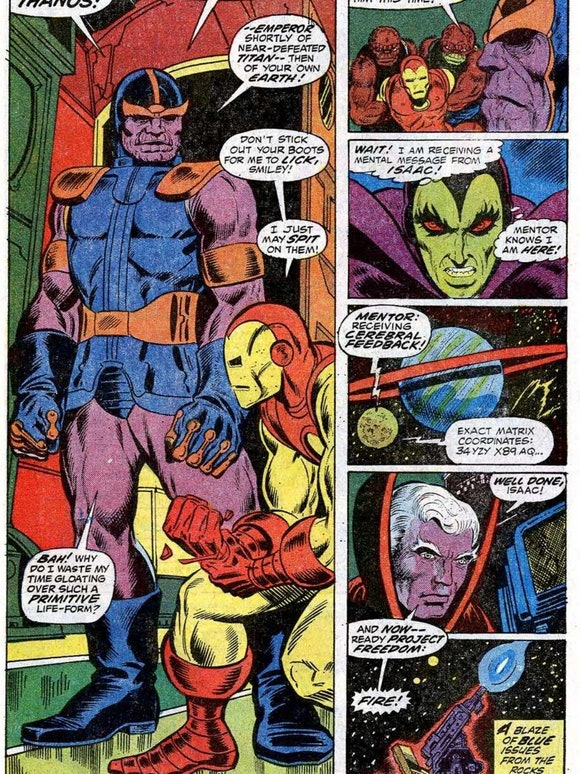 Thanos from Iron Man #55, February 1973. Art and story by Jim Starlin.
