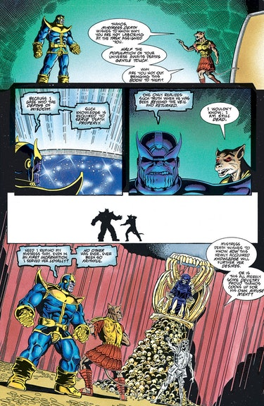 Thanos professes his love for Death in The Thanos Quest #1. Artwork by Ron Lim.