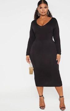 Plus Black Jersey V Neck Long Sleeve Midi Dress