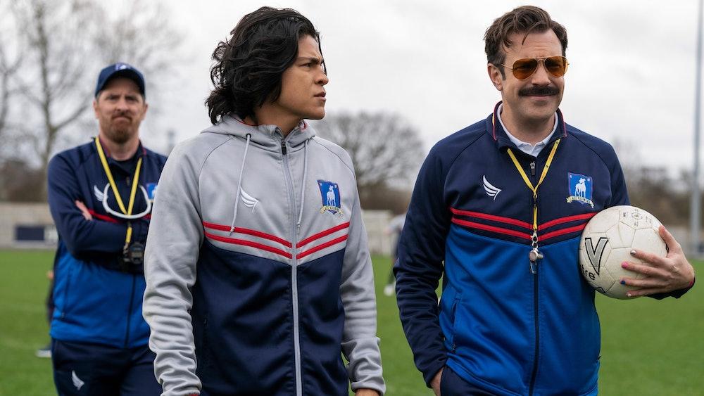 Danny Rojas (center) also attends therapy in Ted Lasso Season 2.