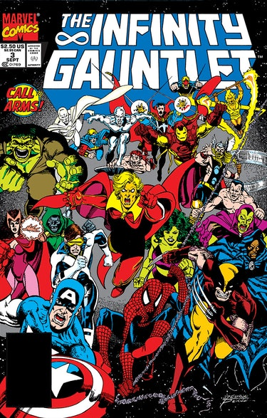 The cover of The Infinity Gauntlet #3. Artwork by George Perez.
