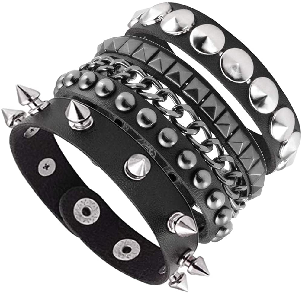 Goth Black Leather Wristband with Metal Studs and Spikes