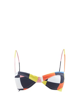 Carlota Check-Print Jersey Bikini Top