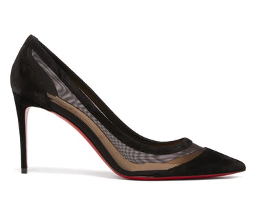 Christian Louboutin's black mesh and suede pumps.