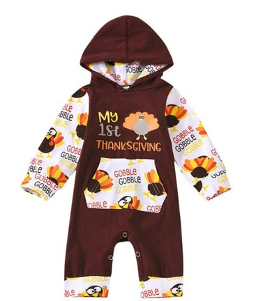 hooded romper outfit for baby's first Thanksgiving