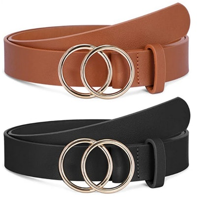 SANSTHS Faux Leather Double O-Ring Buckle Belt (2 Pack)