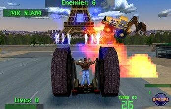 A screenshot from Twisted Metal 2