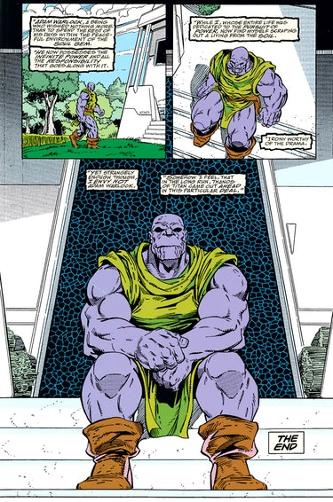 The final page of The Infinity Gauntlet #6. Artwork by Ron Lim.