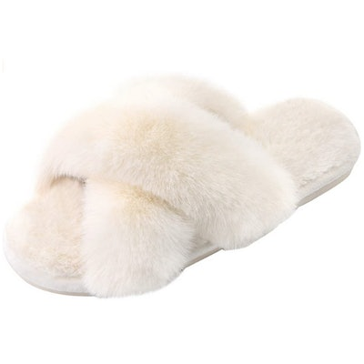 Parlovable Cross Band Plush Slippers
